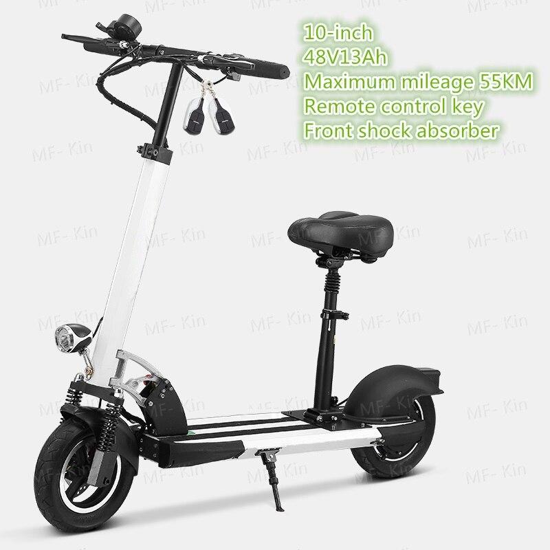 2017 hot 10 polegada Dois-roda de Scooter Elétrica Dobrável Bicicleta Scooters Com 36v48v13Ah Hoverboard 55 resistência quilometragem km Bateria