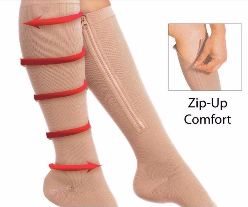 NEW 1pair High Quality Women Men Zipper Autumn Compression Sox Socks Thin Leg Burn Fat Leg Support Knee Open Toe Socks Nude