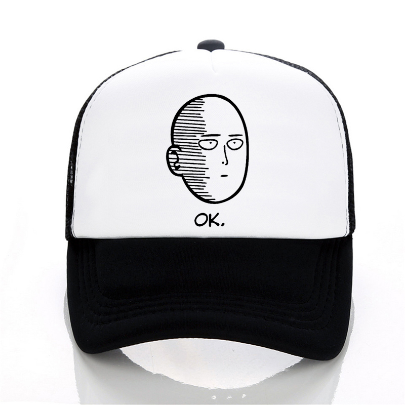 ANIME One Punch Man Printed   baseball     cap   men Women cool Summer Mesh Trucker   cap   ONE PUNCH MAN adjustable snapback hats