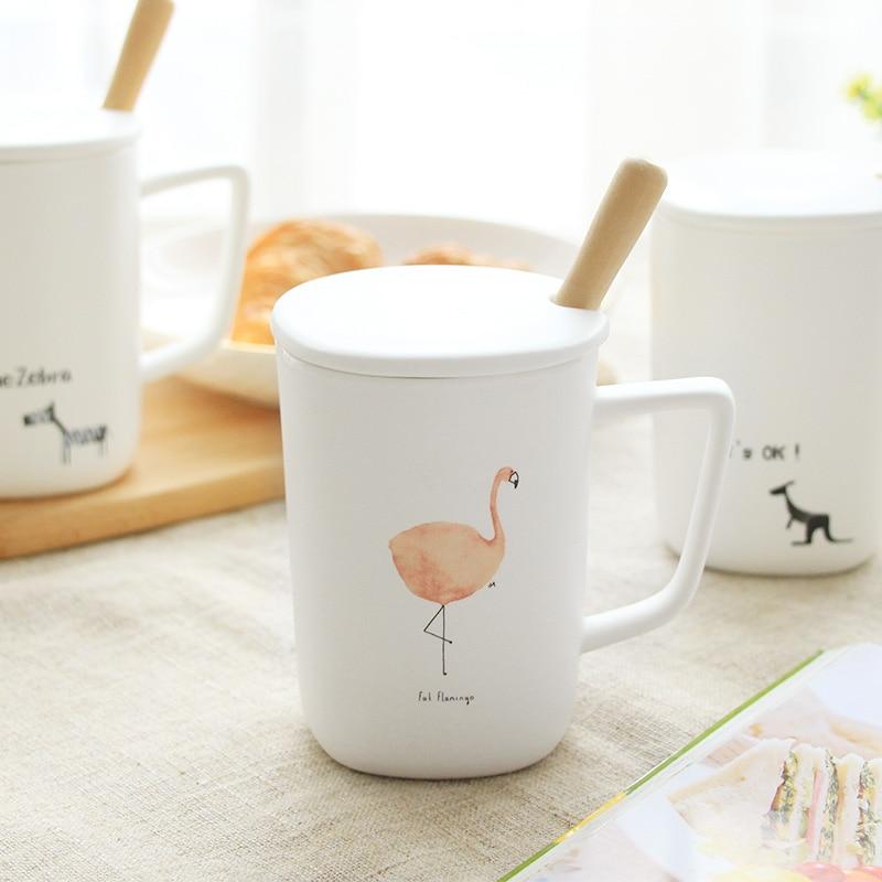 Fox Cup Flamingo Coffee Mugs with Lid Spoon Cute Ceramic Creative Office Mug Tea Cup Breakfast Drinkware Xmas Gifts