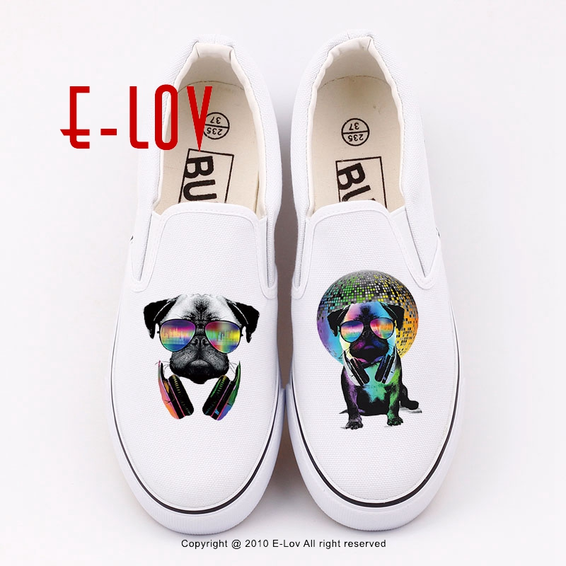 New arrivel 2017 Summer Fashion DJ dog Design Canvas Shoes for Women Girls High Quality funny pug Hipster Casual Shoes