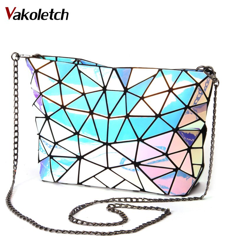 Chain Shoulder bag female Composite style hologram laser silver bag Fold Women-bag Geometric Plaid Bag Casual Tote KL289