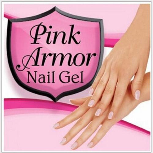 Pink Armor Nail Gel Manicure Pedicure Clear Varnish Polish Glossy Shine Coating
