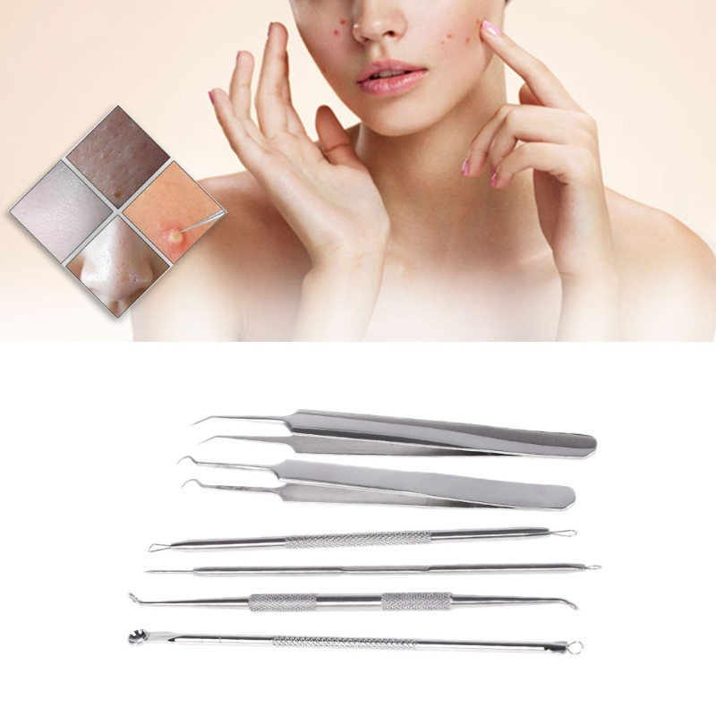 6 Pcs Stainless Steel Blackhead Acne Removal Extractor Blemish Pimple Spot Facial Cleaning Tools