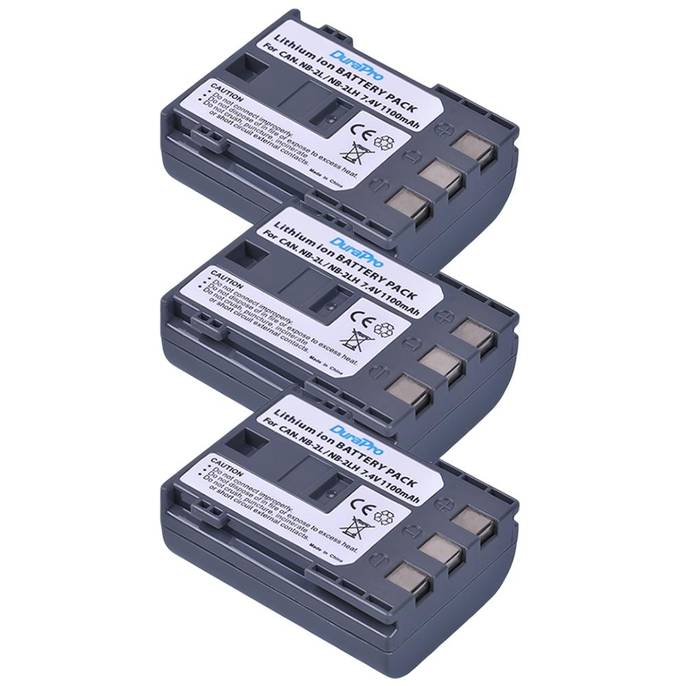 3 Pcs DuraPro NB-2LH NB2LH 2LH 2L NB-2L NB-2L 2L14 Battery for Canon EOS 400D S80 S70 S50 S60 350D G7 G9 Kiss N X Rebel XT XTi стоимость