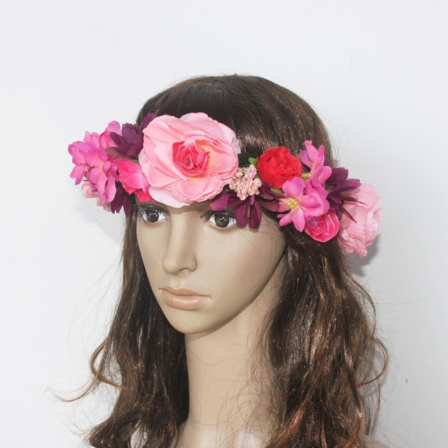 Women S Artificial Flower Wreath Headpiece Crown Fl Garland For Wedding Bridal Deco And Hair Accessories