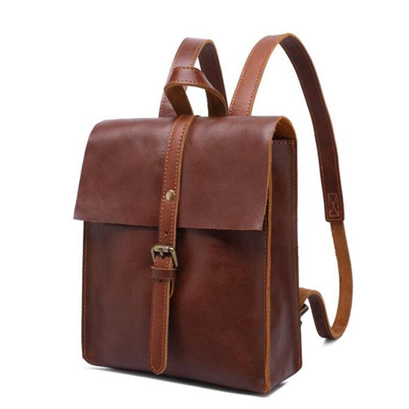 8a036396db5f Винтаж кожаные рюкзаки женские Дорожная сумка из плотной натуральной кожи  Mochilas Для женщин рюкзак для мини