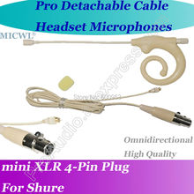 Detachable Cable Pro ear hook Headset Microphone for Shure Wireless with 4Pin XLR mini connector
