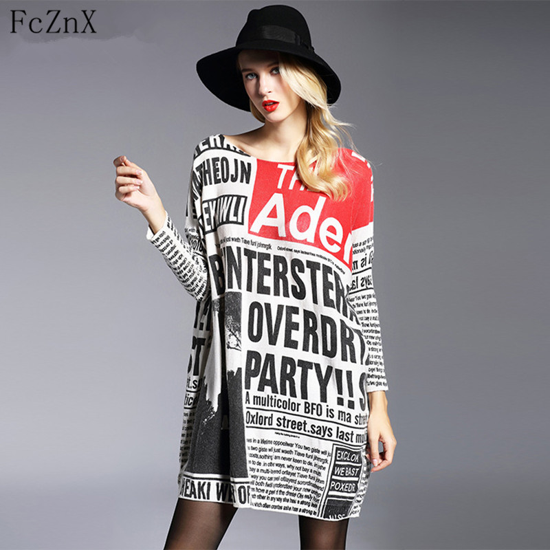 2018 Spring New Fashion Long Oversized Sweater Casual Letter Print Women Sweaters Pullovers Cool Batwing Sleeve Female Pullove
