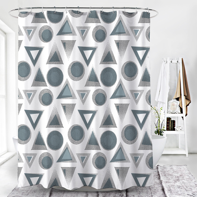 Triangular Circular Pattern Bathroom Curtain Polyester Shower Curtain 180*180 cm Bath Curtain Shower Room Decor Accessories