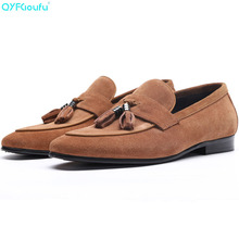 Formal Men Black And Blue Khaki Wine Red Suede Dress Shoe Genuine Leather Shoes Luxury Male Shoes Tassel Flats Shoe