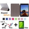 2016 nuevo caso para xiaomi mipad 2 cubierta de cuero de la capa para xiaomi mi pad 7.9 ''tablet pc tirón de la caja de la pc + película + otg + pen