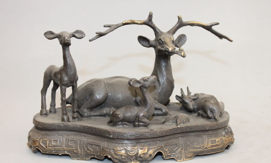 Chinese Pure Bronze Copper carved four Deer home Attract Wealth Decor Statue a 0518 image