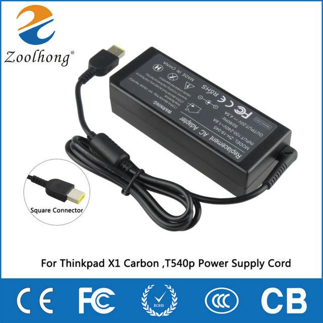 Zoolhong 20 V 4.5A Adaptador AC Carregador Para Thinkpad X1 Carbono, Cabo de Alimentação Conector Quadrado T540p