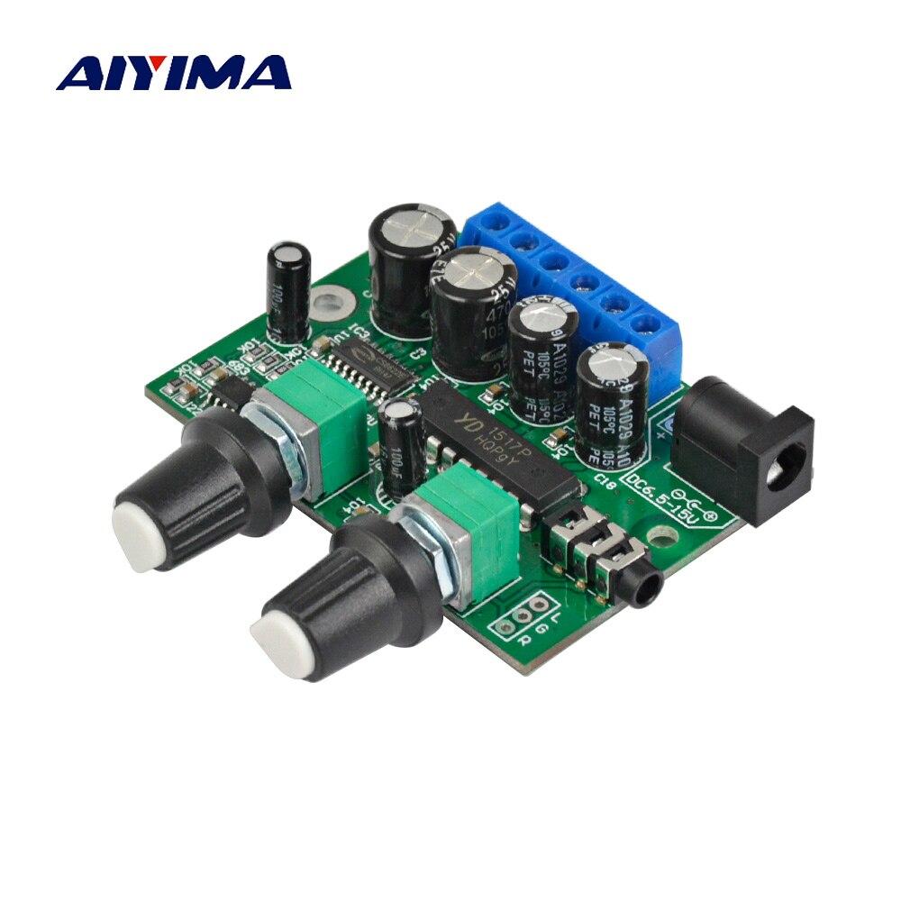 AIYIMA 2,1 усилитель сабвуфера, аудио Плата 6 Вт * 2 + 25 Вт мини-усилитель басов Hi-Fi YD1517P для 4-6 дюймов 40 Вт сабвуферный динамик DIY
