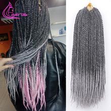 Wyrafinowane włosy 12 14 16 18 20 22 Cal 0 8 średnica szydełkowe warkocze Senegalese Twist Ombre syntetyczne włosy do oplatania burgundii tanie tanio Refined Hair Niska Temperatura Włókna 22 nici opakowanie