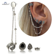 Starbeauty 4pcs/lot Hot Royal Crown Heart Long Chain Cuff Earrings Set Ear Piercing Helix Piercing Fake Nose Ring Women Jewelry(China)