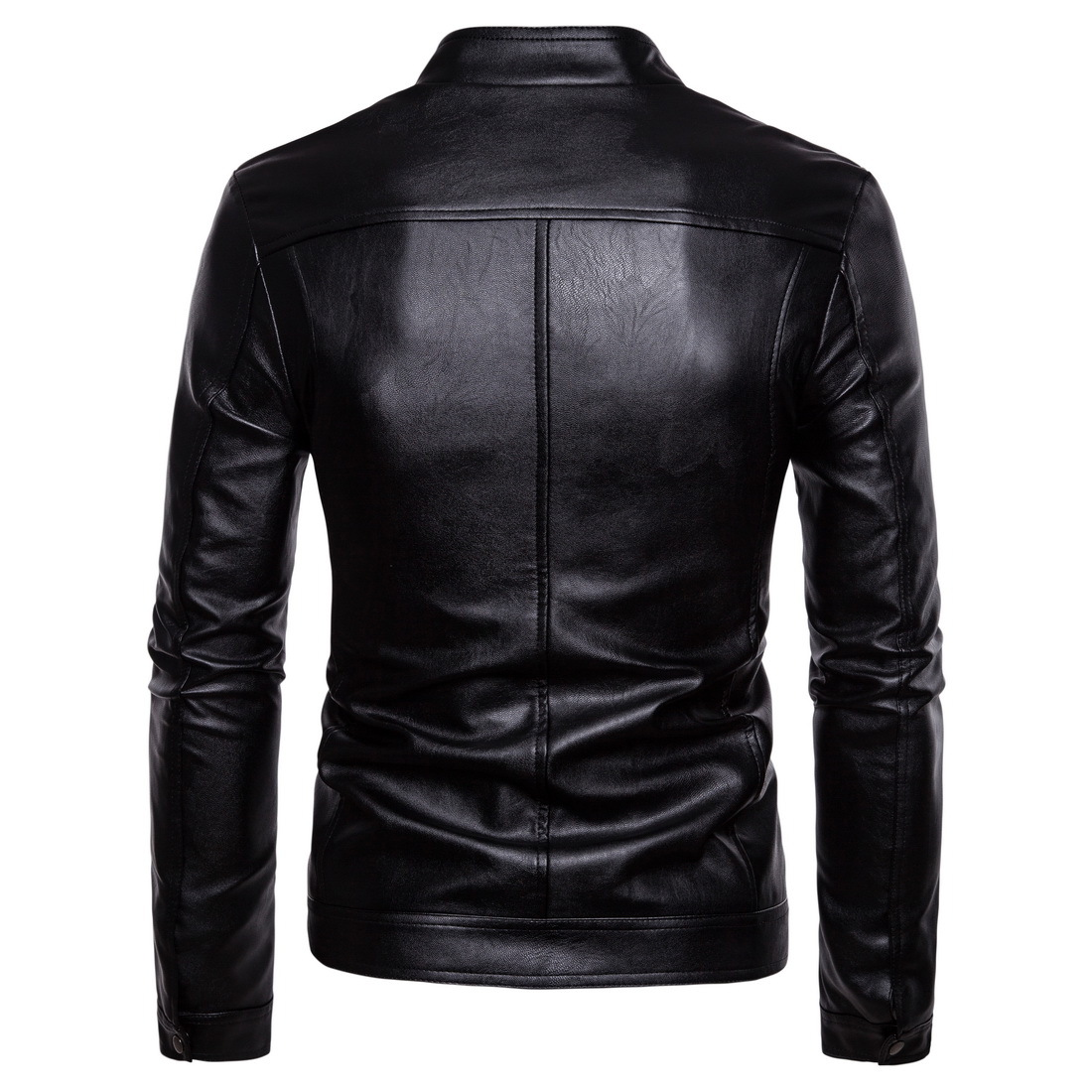 Leather Jacket Men 2018 Autumn Winter New Style Fashion Black Stand Collar Male Casual Motorcycle PU Leather Jacket Coat 5XL in Faux Leather Coats from Men 39 s Clothing