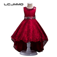 LCJMMO Summer High end European Girls Wedding Evening Gowns Dresses Kids Party Lace Sashes Princess Tutu Trailing Children Dress