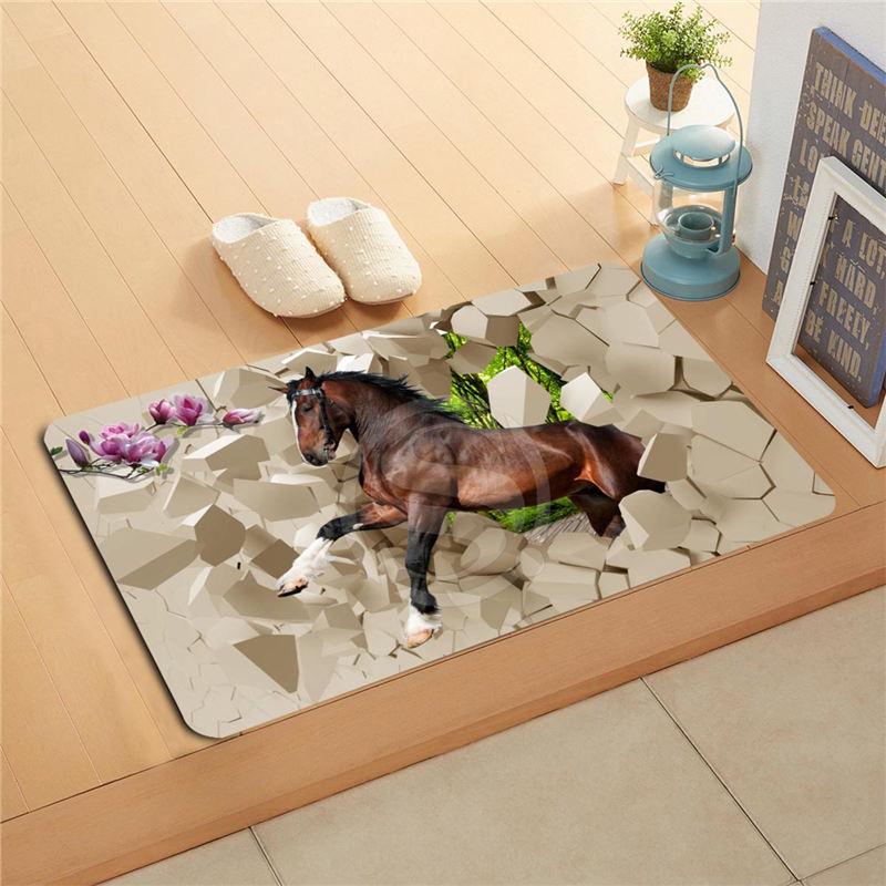 U-n37 Custom Galloping horses 3D Doormat Home Decor Door mat Floor Mat Bath Mats foot pad 718!!U-FLn37