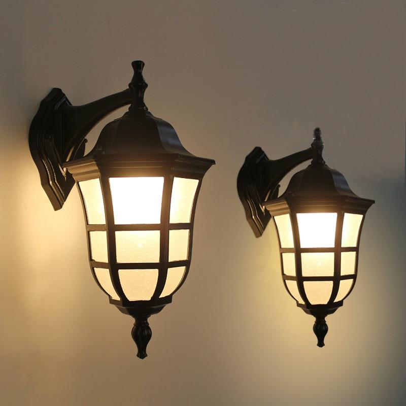 Led Lamps Led Outdoor Wall Lamps European Vintage Black Aluminum Villa Waterproof Outdoor Wall Sconce Lamp American Retro Garden Glass E27 Led Bulb Corridor Lamp