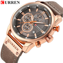 CURREN montre bracelet de luxe pour hommes, sport militaire, Date à Quartz, chronographe, décontracté