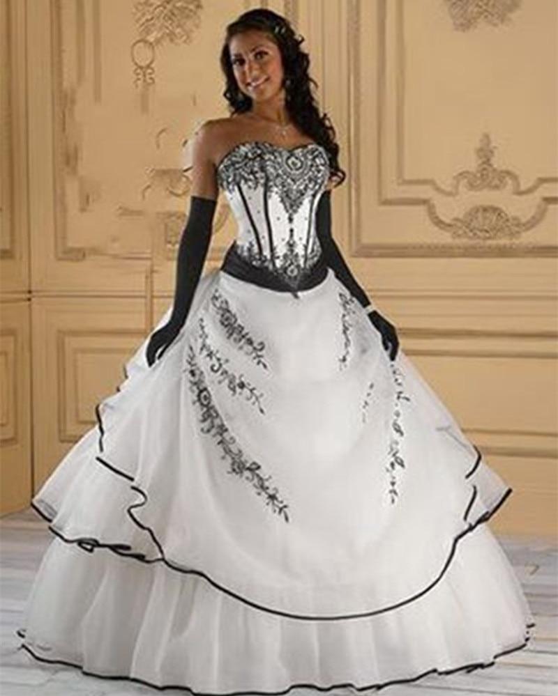 Vestidos De Noiva Hot Sale Gothic A line Red Black White Black Women s vintage Wedding