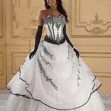 Vestidos De Noiva Лидер продаж готическое ТРАПЕЦИЕВИДНОЕ красное черное/Белое Черное женское винтажное свадебное платье