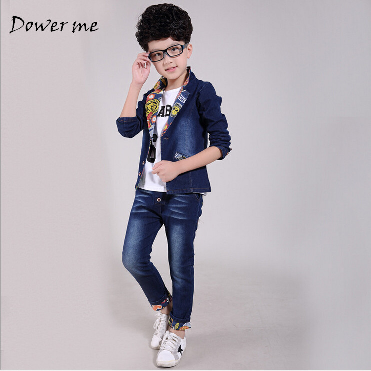 2PCS Set Baby Boys Clothes 2018 Spring Autumn Kids Denim Tops+jeans pants Suit Outfits Children Boy Clothing Set replacement lamp ec k0100 001 w housing for acer x1261 x1161 x110 projector