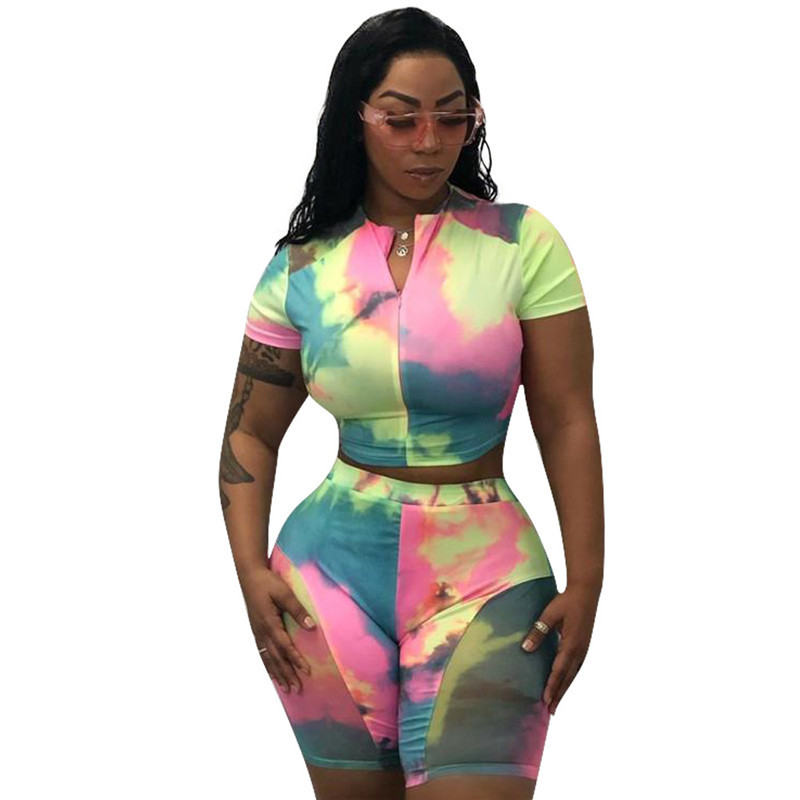 Casual Two Piece Set Short Tracksuit Women Summer Clothes Crop Tops Biker Shorts Set Tie Dye Bodycon 2 Piece Outfit Matching Set