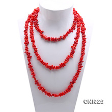 JYX  Charming 4.5x9-4x15mm Genuine Irregular Red Coral Necklace Long 63inch Beads Jewelry For Girl Women Gift Handmade