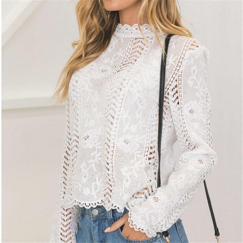 Hirigin feminino voltar branco laço oco manga comprida blusa gola alta blusas de verão para mulher 2017 boné elegante blusa feminina