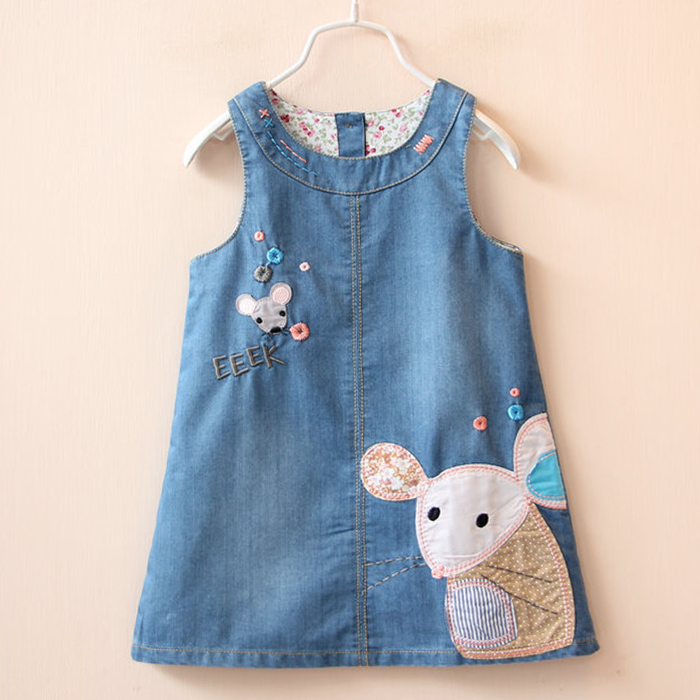 2017 New Cute mouse Baby Kids Girls Toddler Denim Jeans Overalls Sleeveless Dress Clothes 2-6Y