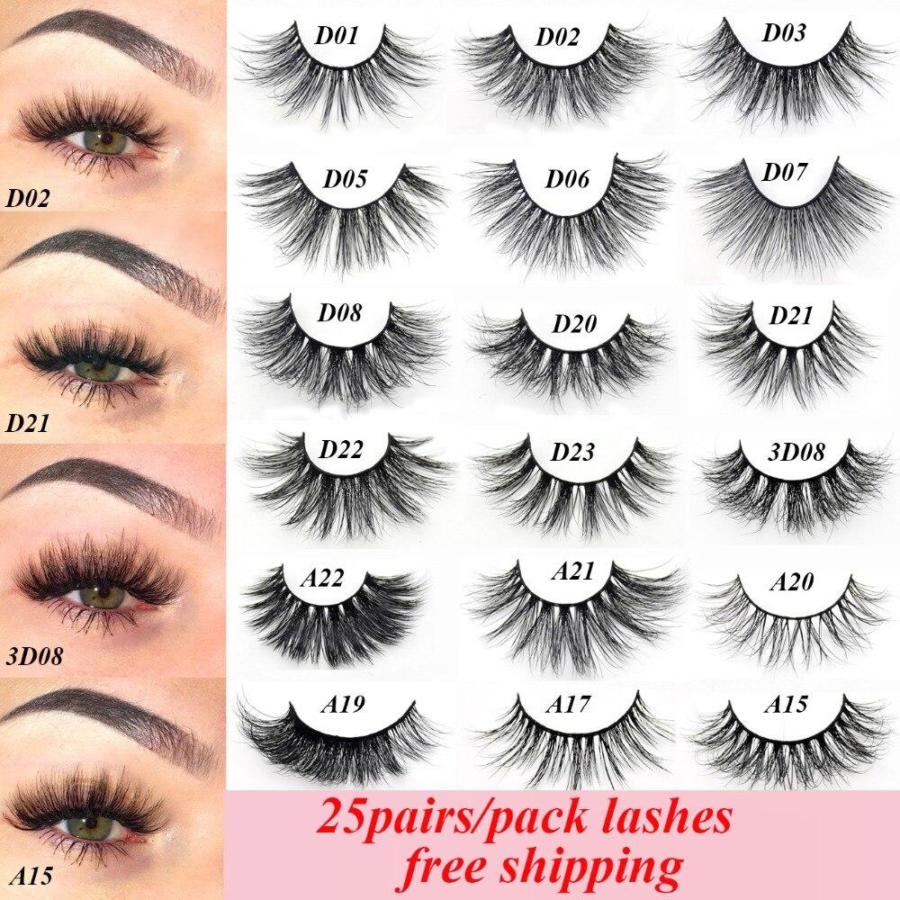 Visofree 25 pairs/lot Mink Eyelashes Natural False Eyelashes Fake Lashes Long Makeup 3D Mink Lashes Eyelash Extension for Beauty-in False Eyelashes from Beauty & Health    1