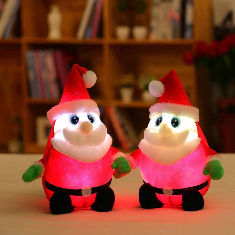 30/50 см креативный музыкальная шкатулка и загорается СВЕТОДИОДНЫЙ мягкие плюшевые игрушки с Санта-Клаусом; разноцветная светящаяся Санта Клаус Рождественский подарок для детей