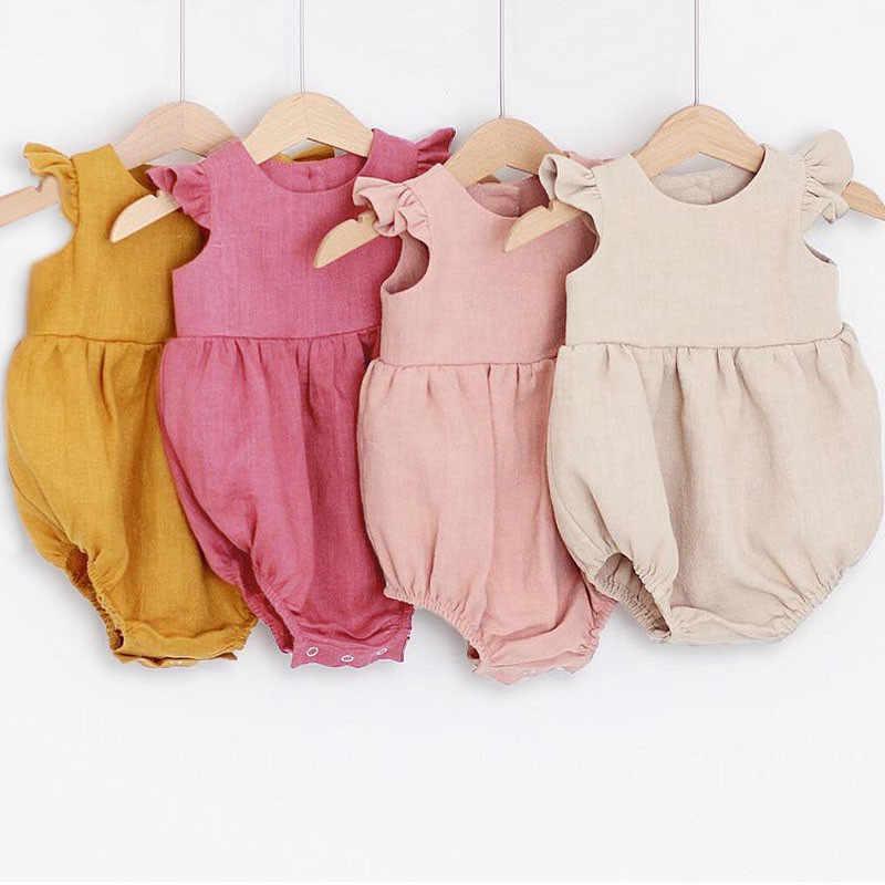 신생아 Romper 아기 소녀 Romper 민소매 단색 아기 소녀 옷 0-24M 어린이 옷 아기 Rompers 아기 의상