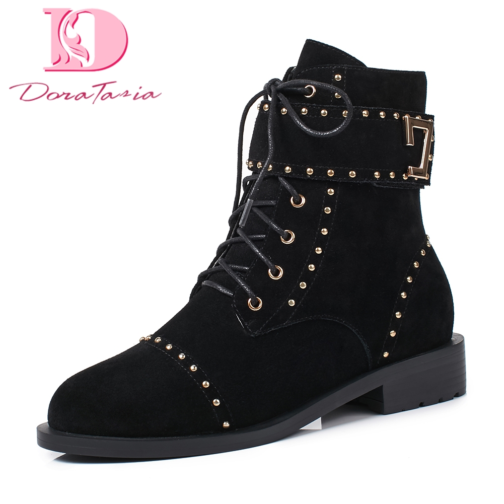 Doratasia 2018 Cow Suede leather autumn winter Boots Woman Shoes woman boots Rivet Ankle Boots Shoes WomanDoratasia 2018 Cow Suede leather autumn winter Boots Woman Shoes woman boots Rivet Ankle Boots Shoes Woman