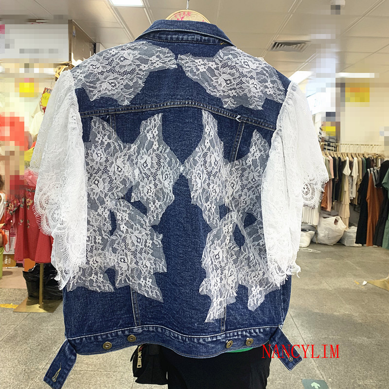 2019 Autumn Denim Coat Women Fashion New Stitching Lace Sleeve Loose Cowboy coat outwe Girls Students Jeans   Jacket     Basic     Jackets