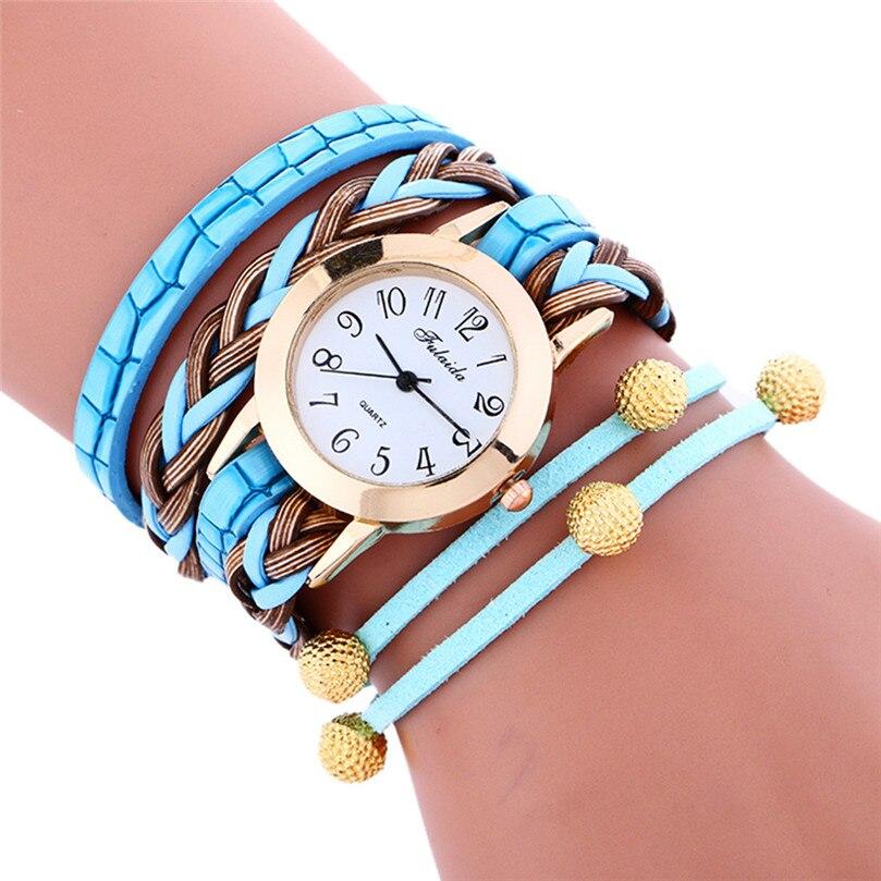 Женские Модные часы Обёрточная бумага соткать вокруг браслет леди Женщины Наручные часы Relogio feminino браслет Бесплатная доставка #40