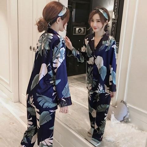 Big Size Pyjamas Set M-5XL Women Silk Satin Pajamas Long Sleeve Sleepwear Pijama Pajamas Suit Sleep Lounge Set Floral Loungewear Karachi