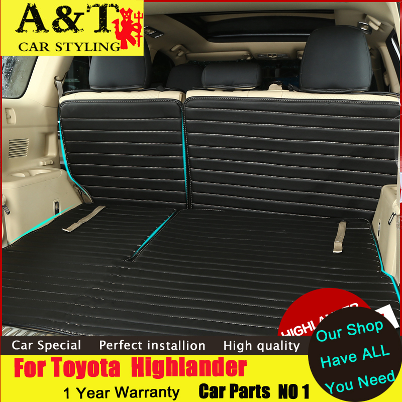 JGRT car styling For Toyota Highlander Trunk Covers 2015-2017 dedicated wholly surrounded leather trunk mat Seat Covers