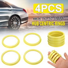 4pcs/set 66.6 to 57.1mm Car Wheel Center Collar Hub Centric Ring Styling Tire Accessories