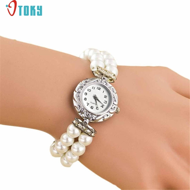 OTOKY Willby Women Girl's Fashion Brand New Pearl Beads Quartz Bracelet Watch 16