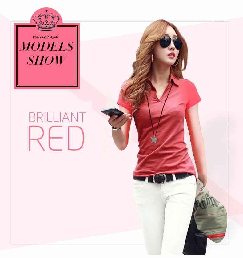 Summer Polo Shirt Women 2016 New Short Sleeve Solid Slim Polos Mujer Shirts Tops Fashion Plus Size Polo Femme 5 Color A192  c