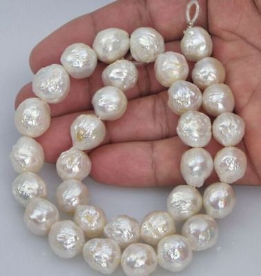 gorgeous 12-13mm south sea baroque white pearl necklace 18inch цена
