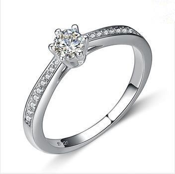 2016 Baru kedatangan Gratis pengiriman 925 sterling silver shiny zircon  batu pernikahan engagement perempuan jari cincin perhiasan 9bd7cab12d2c