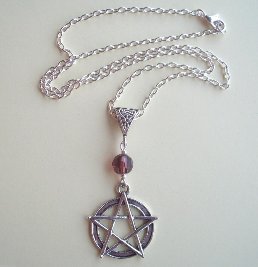Drop shipping Large Pentagram & Purple Crystal S/P Chain Necklace - Wicca Pagan Witch