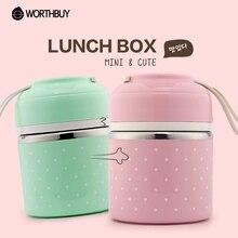 Tragbare Nette Mini Japanische Bento Box Dicht Edelstahl Thermische Mittagessen Boxs Für Kinder Picknick Behälter Für Lebensmittel lagerung