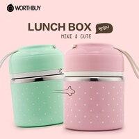 Wothbuy Портативный Симпатичный мини японский bento box герметичность Нержавеющаясталь Термальность обед коробок дети Пикник Еда контейнер для ...