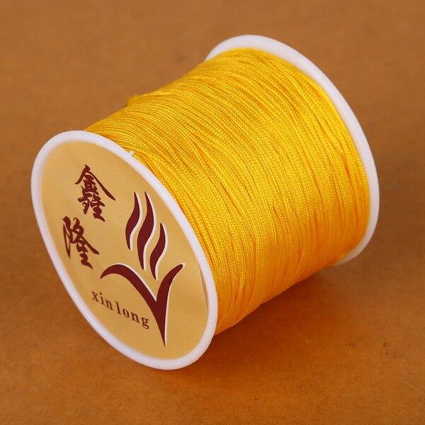 50 метров 0,8 мм нейлоновый шнур, китайский Узелок, шнур макраме, браслет, плетеный шнур, бисероплетение, сделай сам, ювелирный шнур, нить - Цвет: Yellow